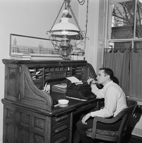 Playwright Edward Albee Writing at Rolltop Desk
